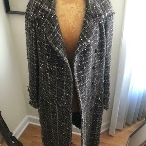 Authentic Vintage Chanel Tweed Wool CC Coat 38